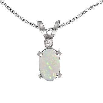 10k White Gold Oval Opal And Diamond Filagree Pendant with 16
