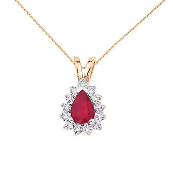 14k Yellow Gold 6x4 mm Pear Shaped Ruby and Diamond Pendant with 18