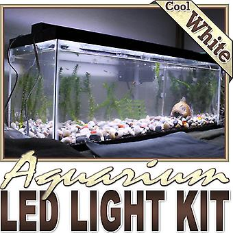 Biltek 6' ft Cool White Aquarium Fish Tank White LED Lighting Strip + Dimmer + Remote + Wall Plug 110V - Main Lighting Sub Fresh Water Salt Water Tanks Water Resistant 3528 SMD Flexible DIY 110V-220V