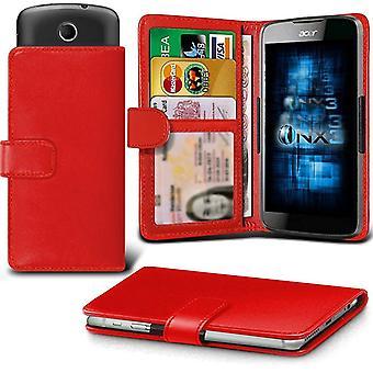 ONX3 (rot) LG K4 (2017) Case Universal verstellbare Feder Brieftasche ID-Kartenhalter mit Kameraschlitten und Banknoten-Steckplatz