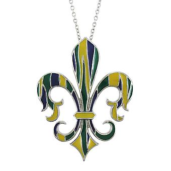 Beautiful Blue, Green and Yellow Enamel Fleur-de-Lis Necklace