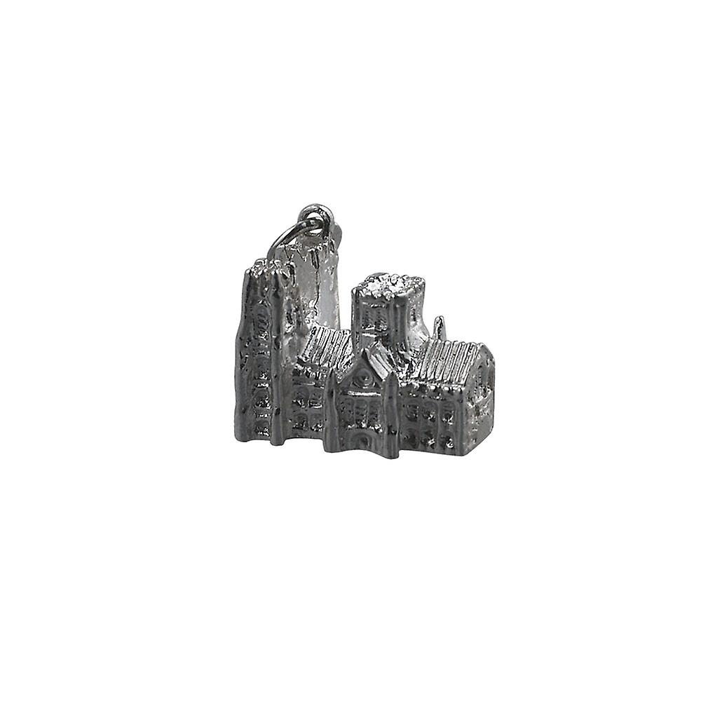 Silver 13x18mm Westminster Abbey Pendant or Charm