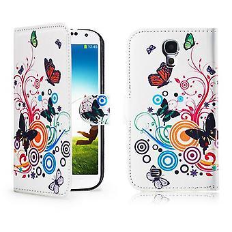 Design Buch PU Ledertasche für Samsung Galaxy S4 i9500 - Farbe Schmetterling