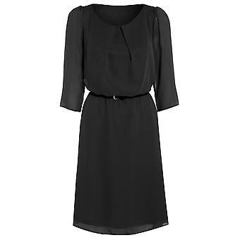 Womens belted flowy chiffon dress DR880-Black-10