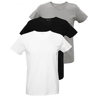 Tommy Hilfiger 3-Pack Premium v-hals T-Shirts, zwart/wit/grijs