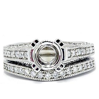 1 / 2ct Vintage Erbstück Diamant Ring Set 14K White Gold