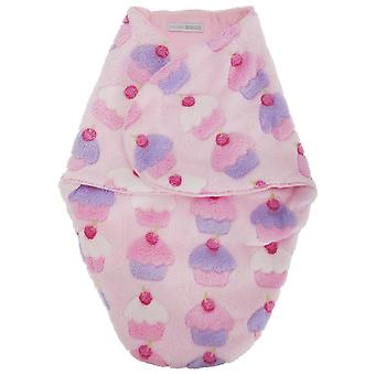 Baby Girls Cupcake Print Fleece Swaddle Bag