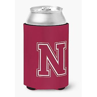 Letter N Initial Monogram - Maroon and White Can or Bottle Beverage Insulator Hu