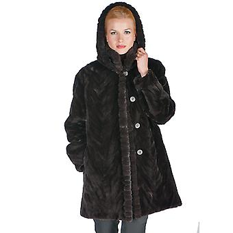 Mahogany Sculptured Hooded Mink Fur Jacket for Women - Detachable Hood