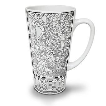 Lisbon City Map Fashion NEW White Tea Coffee Ceramic Latte Mug 17 oz | Wellcoda