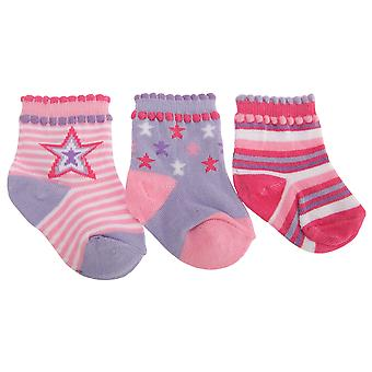 Baby Girls Cotton Rich Patterned Socks (Pack Of 3)
