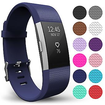 Yousave Fitbit Charge 2 Strap Single (Large) - Dark Blue