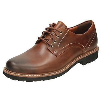 Mens Clarks смарт зашнуровать обувь Batcombe Холл - черная кожа - Великобритания размер 13G - ЕС размер 48 - США размер 14M