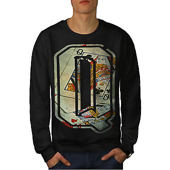 Letter Q Queen Fashion Men BlackSweatshirt | Wellcoda