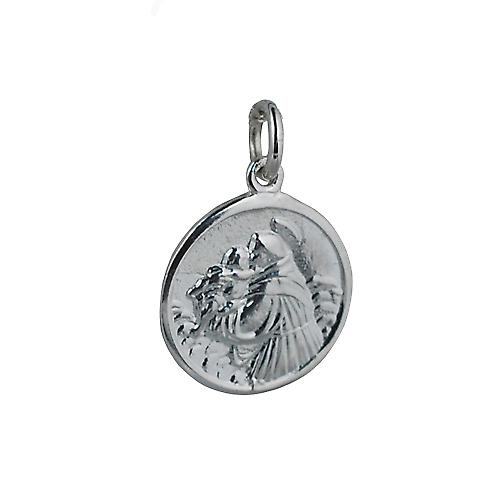 Silver 18mm round St Anthony of Padua Pendant