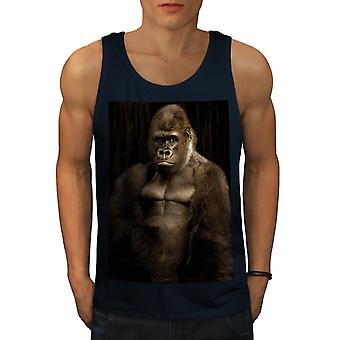 Monkey Strong Body Men NavyTank Top | Wellcoda