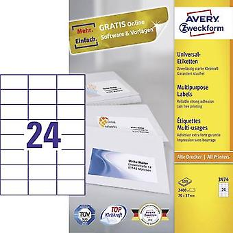 Avery-Zweckform 3474 Labels (A4) 70 x 37 mm Paper