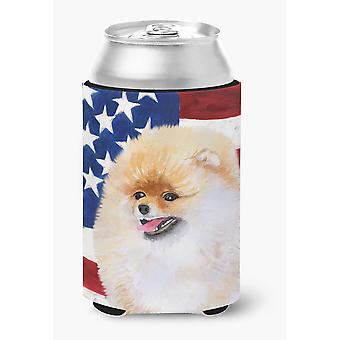 Carolines Treasures  BB9682CC Pomeranian Patriotic Can or Bottle Hugger