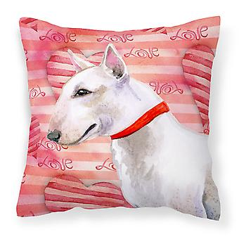Carolines Treasures  BB9780PW1414 Bull Terrier Love Fabric Decorative Pillow