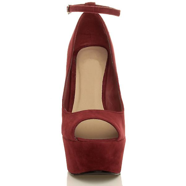 de91350117d Ajvani womens high heel wedge platform peep toe court shoes ankle strap  sandals