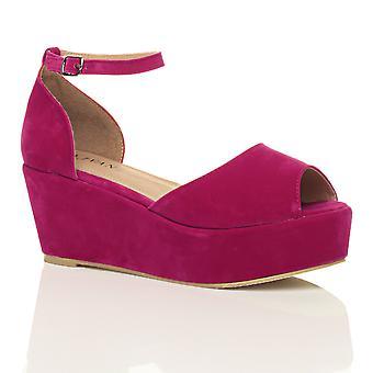 Ajvani womens low mid heel block wedge platform flatform sandals shoes