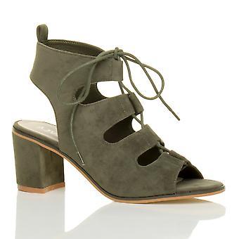 Ajvani dame midt hæl skåret ud ghillie snøre peep toe Ankelstøvler Sandaler sko