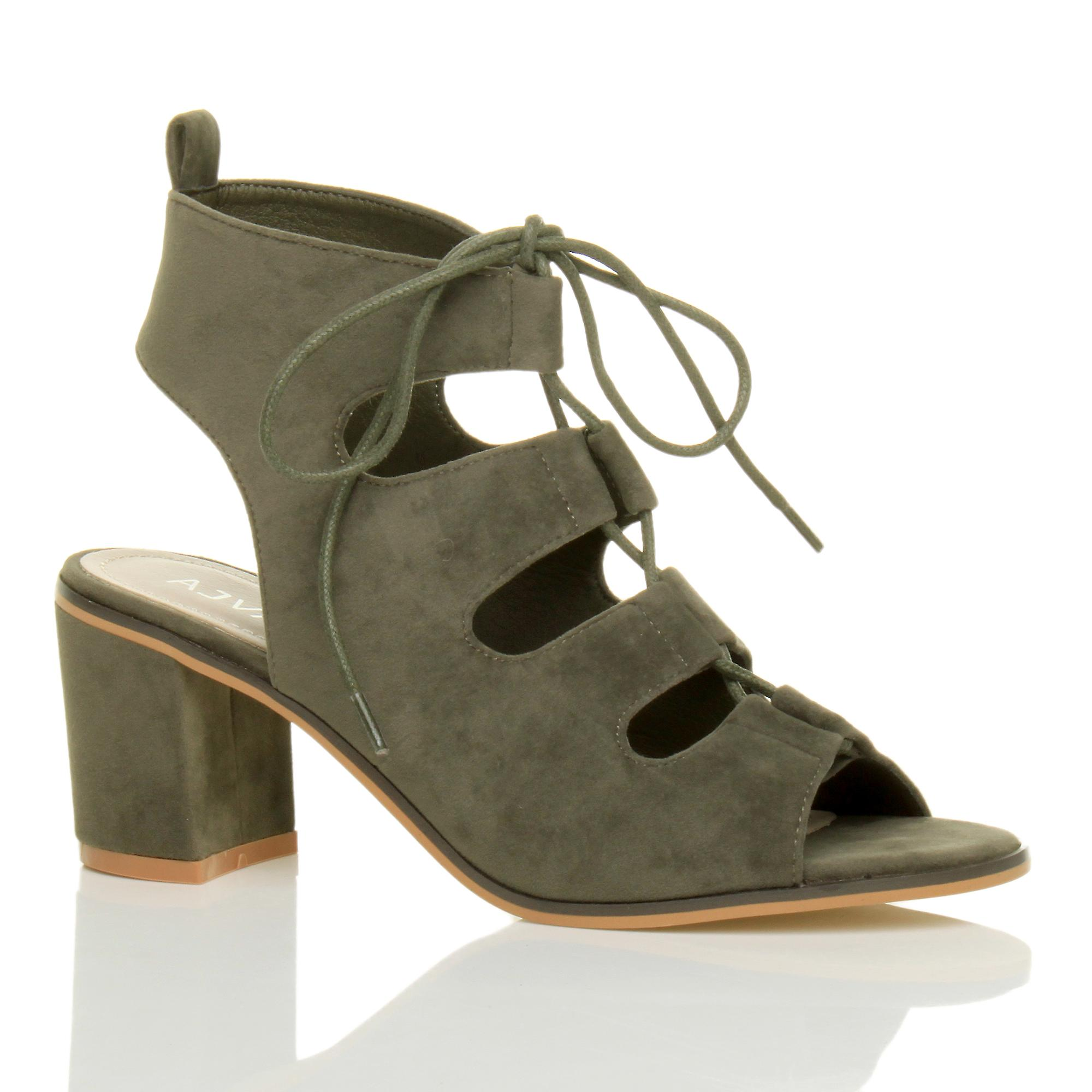 Ajvani Womens Mitte niedrigem Absatz ausgeschnitten Ghillie-Schnürung Peep Toe Stiefeletten Sandalen Schuhe