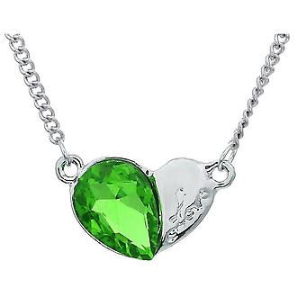Womens Heart Silver And Green Pendant Necklace Crystal Stone BG1632