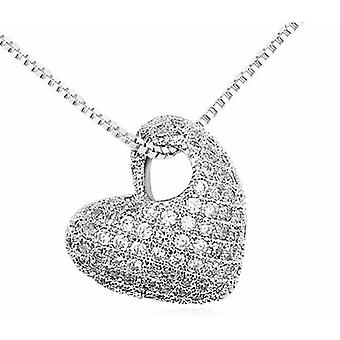 Womens Stone Encrusted Love Heart Pendant Necklace Covered With Crystal Stones