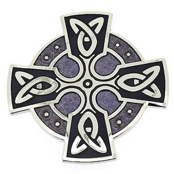 Broscher lagra lila lila emalj och Silver Celtic korsa huvud brosch