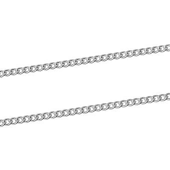 4m x Silver Plated Iron Alloy 2 x 3mm Open Curb Chain CH1115