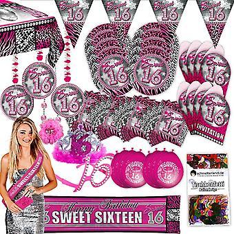 Partypaket 16 Sweet Sixteen pink 63-teilig für 8 Gäste Party Set Geburtstag