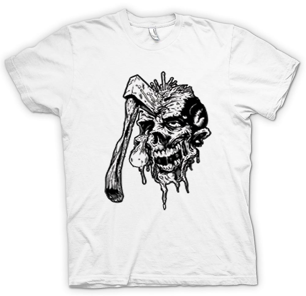 Womens T-shirt - Axed Zombie Skull Black & White Design