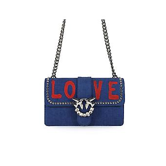 PINKO DENIM LOVE SAC AVEC STRASS