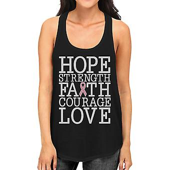 Hope Strength Faith Love Women Black Breast Cancer Support Tank Top