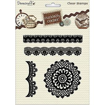 Dovecraft Curiosity Corner A5 Clear Stamps-Lace & Doily