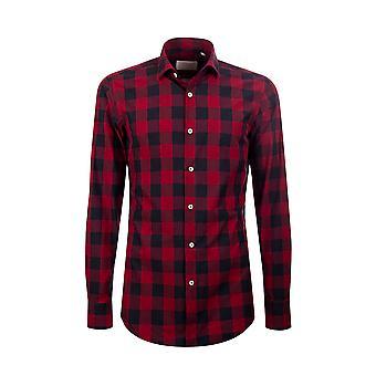 Fabio Giovanni San Carlo Shirt - Italian Poplin Cotton Red & Black Buffalo Check Shirt
