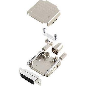 D-SUB receptacle set 180 ° Number of pins: 15 Solder bucket encitech DPPK15-M-DBS-K 1 Set