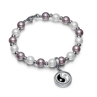 Amulet Positive Powers Simulated Pearl Purple White Yin Yang Magic Circle Energy Elegant Bracelet