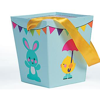 SALE - Easter Design Pale Blue Square Board Gift Bucket with Ribbon Handles
