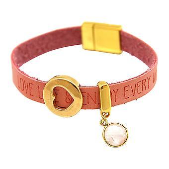 Gemshine Bracelet Heart Love WISHES Rose Quartz Pink Pink Magnetic Closure