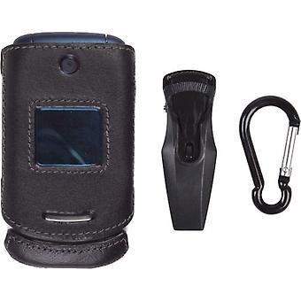 Inalámbrico con clip caja de soluciones para Motorola EM330 (negro)
