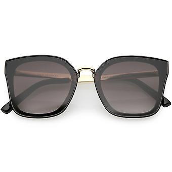 Oversize Metal Nose Bridge Arms Square Sunglasses Gradient Lens 58mm