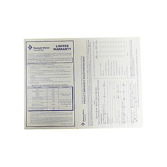 Pentair vatten Pool och Spa produkt garanti registrering kort engelska