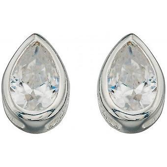 Beginnings Cubic Zirconia Plain Teardrop Stud Earrings - Clear/Silver