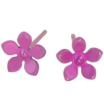 Ti2 Titanium 8mm Five Petal Stud Earrings - Candy Pink