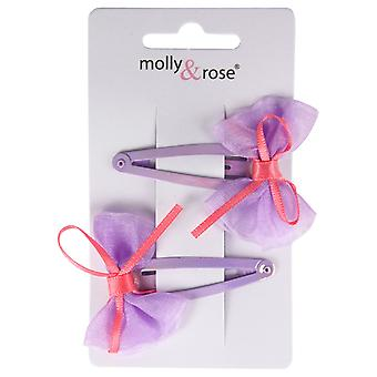 Molly & Rose Small Chiffon Hair Bow Clasp 2 PK Lilac