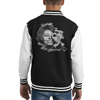Sophia Loren zwart en wit Sketch Art Kid's Varsity Jacket
