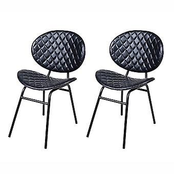 QAZQA Set of 2 Dining Chairs Leather Dark Blue with Iron Legs - Larnaca
