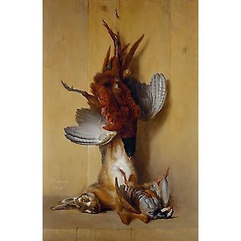 Nature morte avec faisan, Jean-Baptiste Oudry, 40x60cm avec plateau
